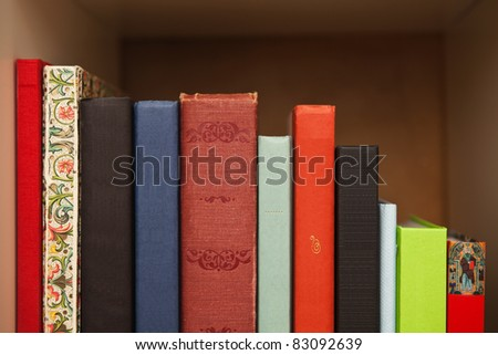 Blank books on a shelf - stock photo