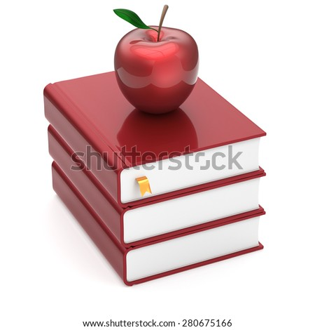 Blank books red apple index blank textbooks stack education studying reading learning school college knowledge literature idea icon concept. 3d render isolated on white - stock photo