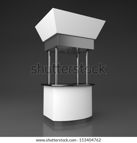 blank booth or kiosk from an angle isolated on dark background. 3d render - stock photo