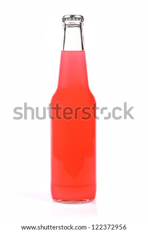 blank bottle with pink drink - stock photo