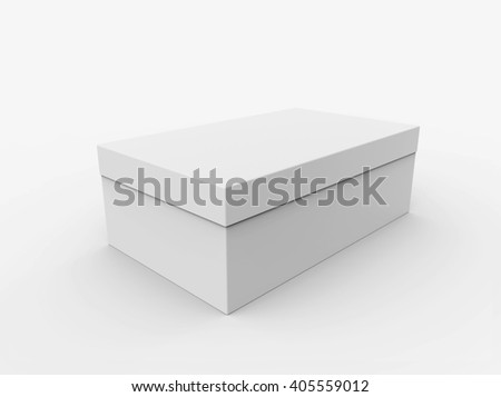 Blank box isolated on white background, Mockup for your Design. 3D illustration - stock photo