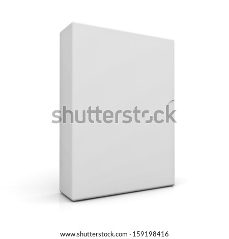 Blank Box isolated over white background with reflection - stock photo