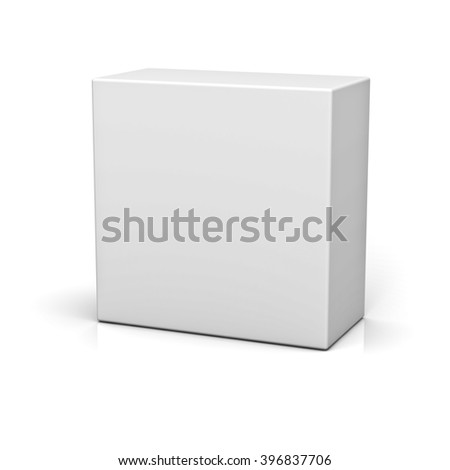 Blank box or button isolated over white background with reflection - stock photo