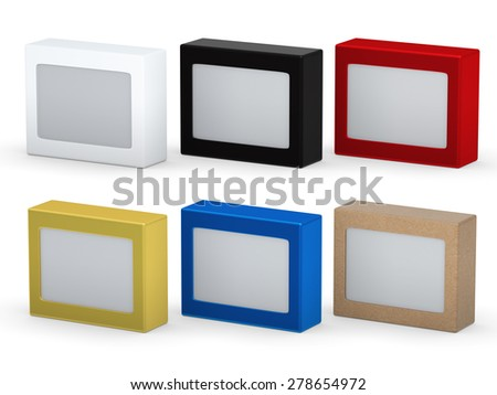 Blank  box packaging set with plastic window for variety product, clipping path included  - stock photo