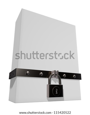 blank box with riveted iron band and padlock - 3d illustration - stock photo