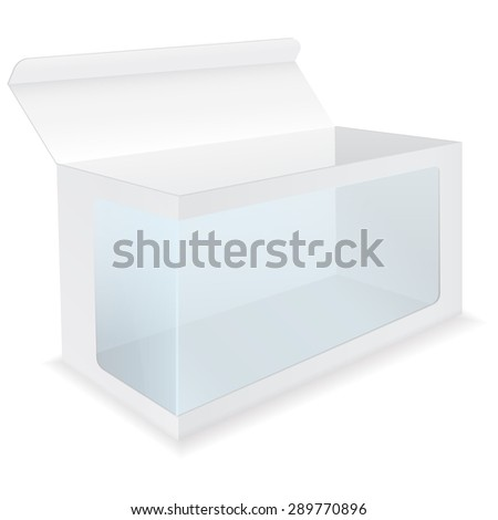 Blank Box with Transparent Window. isolated on white background. Raster version - stock photo
