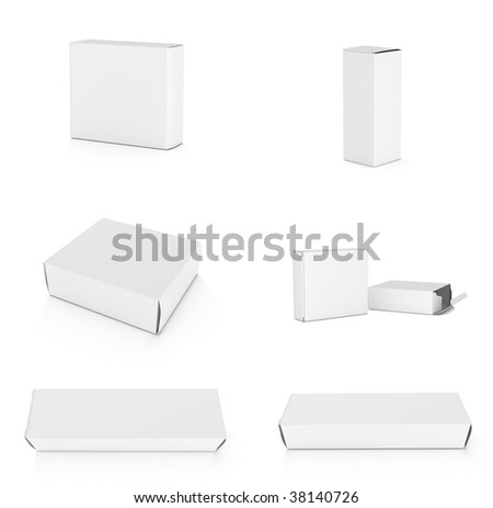 Blank boxes on white background