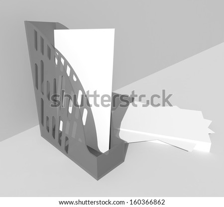 Blank brochure box holder with paper, you can place your text here. 3d render on background - stock photo