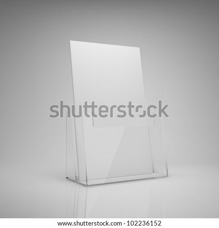 Blank brochure glass holder - stock photo