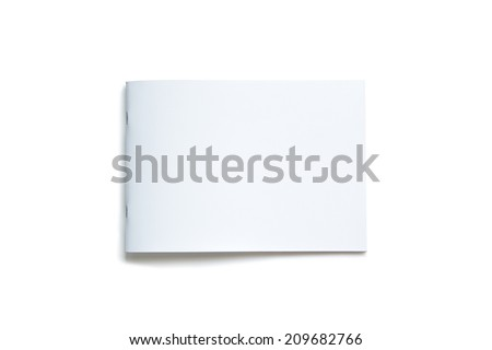 Blank brochure isolated on white background - stock photo