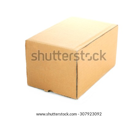 Blank brown box mock up isolated on  background. - stock photo