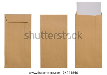 Blank brown envelope with paper isolate over white background - stock photo