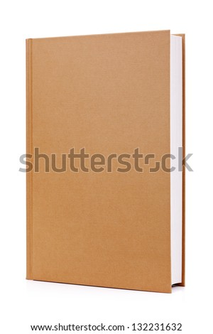 Blank brown hardback book cover ready for text or graphic isolated on white - stock photo
