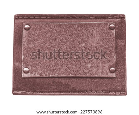 blank brown leather jeans label isolated on white