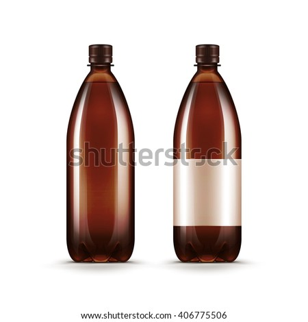 Blank Brown Plastic Water Beer Kvass Bottle Isolated on White Background