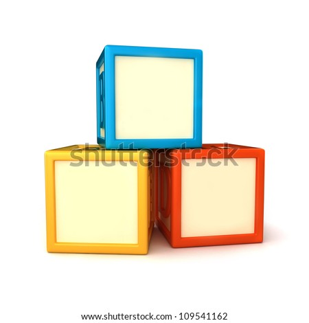 Blank building blocks - stock photo