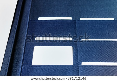 Blank business card in file folder selected, unique or important one concept - stock photo