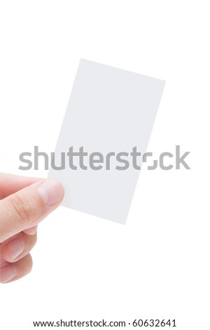 Blank Business Card In Human Hand - stock photo