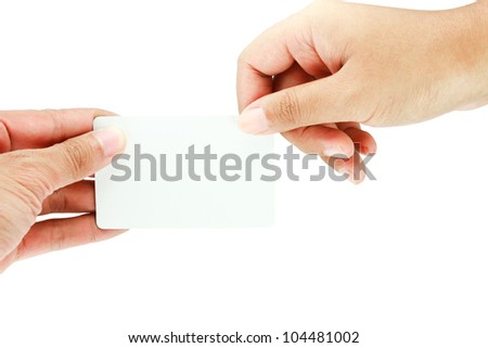 blank business card on white background. - stock photo