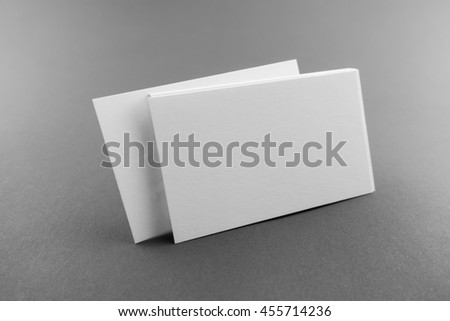 Blank business card, postcard with soft shadows. - stock photo