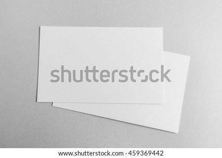 Blank business card, postcard with soft shadows - stock photo