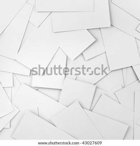Blank business cards as a background, Closeup Pattern Copy Space - stock photo
