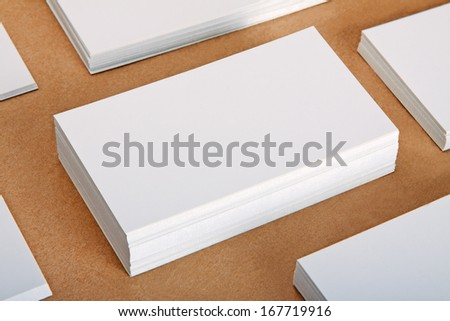 Blank business cards crafts background - stock photo