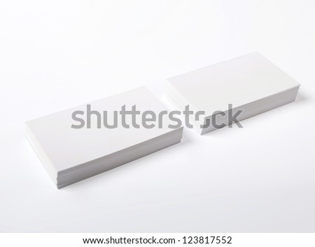 Blank Business Cards isolated on white - stock photo