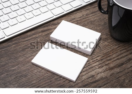Blank business cards mockup - stock photo