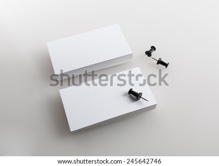 Blank business cards. Template for branding identity. Isolated with clipping path. - stock photo