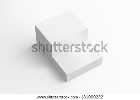 Blank business cards with soft shadows  isolated on white to replace your drsign - stock photo
