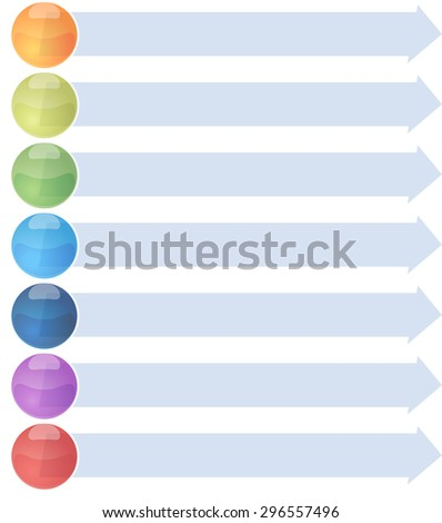 blank business strategy concept infographic arrow list diagram illustration seven 7 steps - stock photo