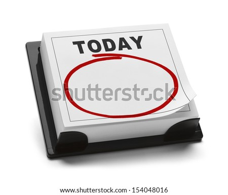 Blank Calendar with Word Today and Red Marker Circle With Copy Space Isolated on White Background. - stock photo