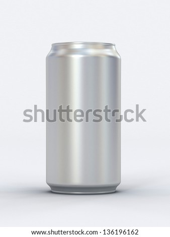 Blank can 3d render. Ideal for beer, cola, energy drink. - stock photo