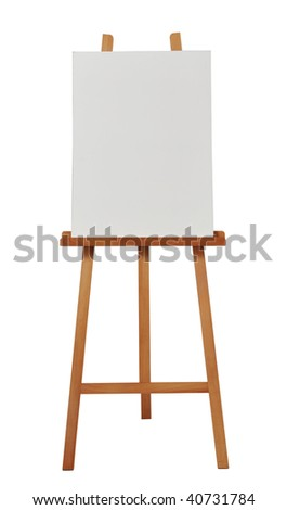 blank canvas on easel - stock photo