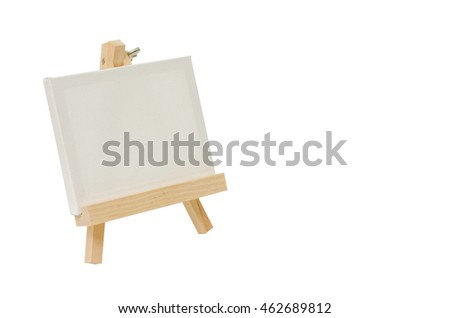 Blank canvas on easel for painting, Isolated image.