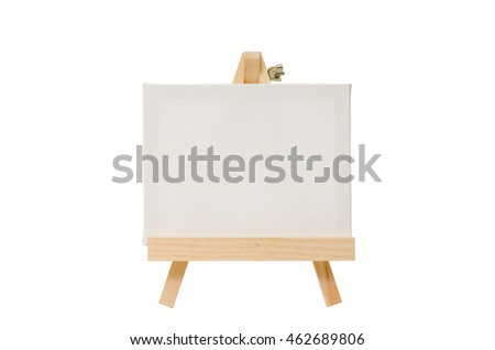 Blank canvas on easel for painting, Isolated image. Front view.
