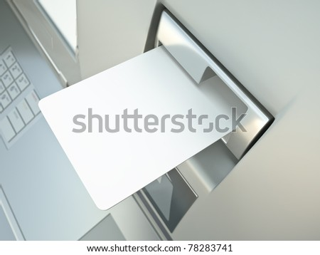 Blank card in a cash point slot, ready for your credit/debit card design - stock photo