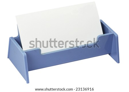blank card in business card holder. - stock photo