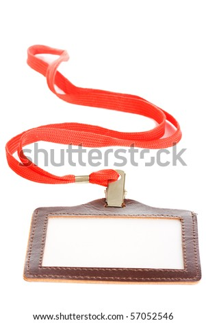 blank card in leather cover isolated on white background - stock photo