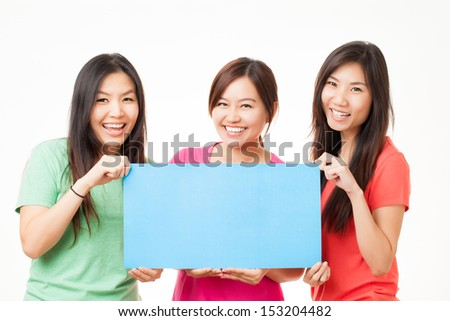 Blank card, people holding card that can be replace with everything you want, name card sign etc... shoot on isolated white background