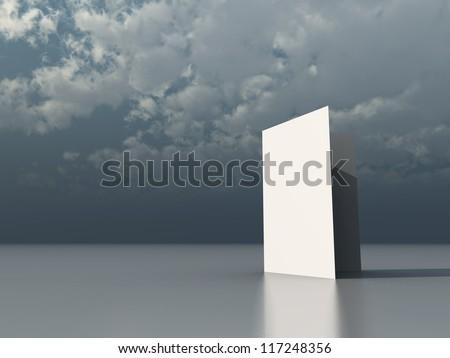 blank card under cloudy dark sky - 3d illustration - stock photo