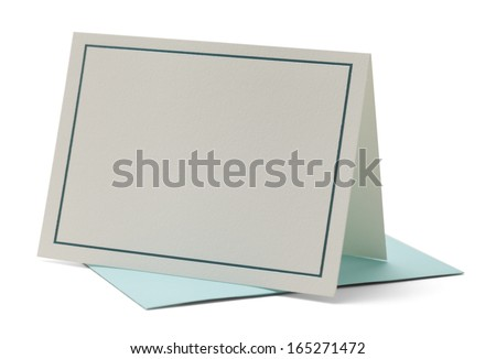 Blank Card with Blue Trip Isolated on White Background. - stock photo