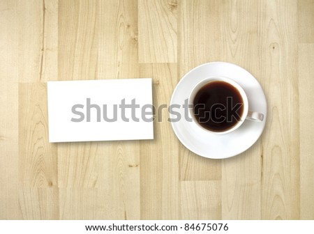 blank card with coffee cup with space for your data - stock photo