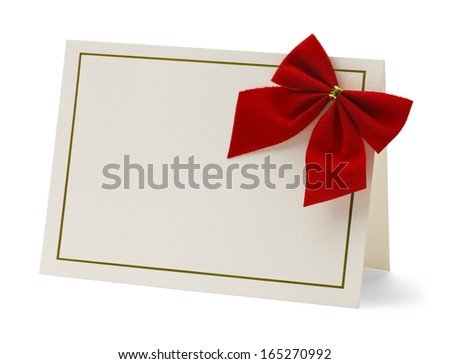 Blank Card With Red Bow Isolated on White Background. - stock photo