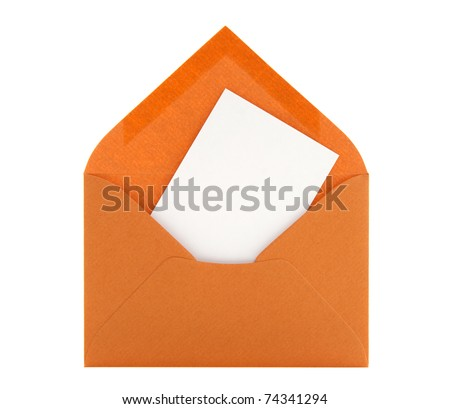 Blank card with space for text in an orange envelope, isolated on white background. - stock photo