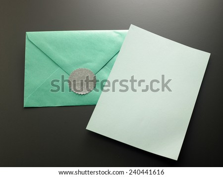 blank card with the green envelope with  thank you sticker - stock photo