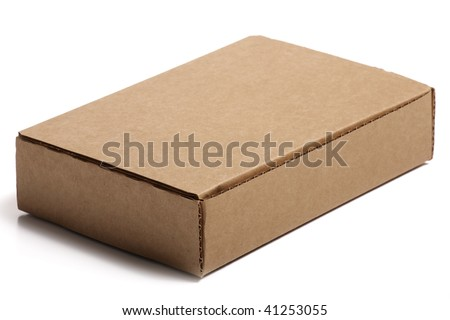 Blank cardboard box isolated on white background.