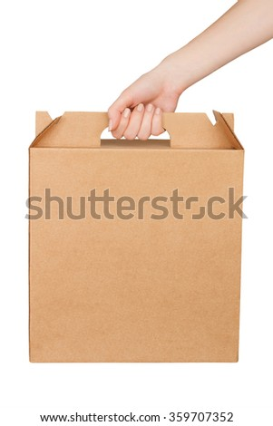 Blank cardboard box with hand isolated on white background.  - stock photo