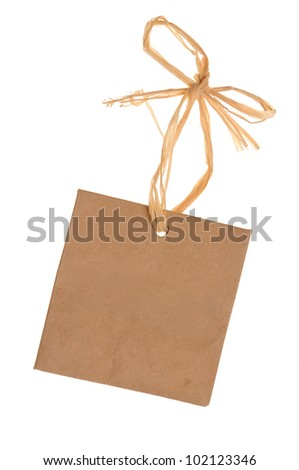 blank cardboard paper labels or tag with strings isolated on the white background - stock photo